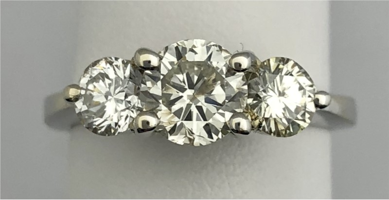 14KW Three Stone 1.85ctTW Diamond Ring by Overnight