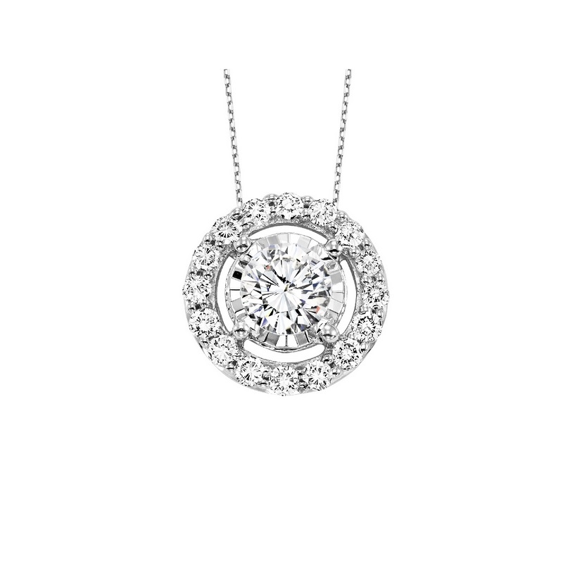 14KW .14ctTW H-I/SI2-I1 Diamond Pendant w/ Halo by Gems One