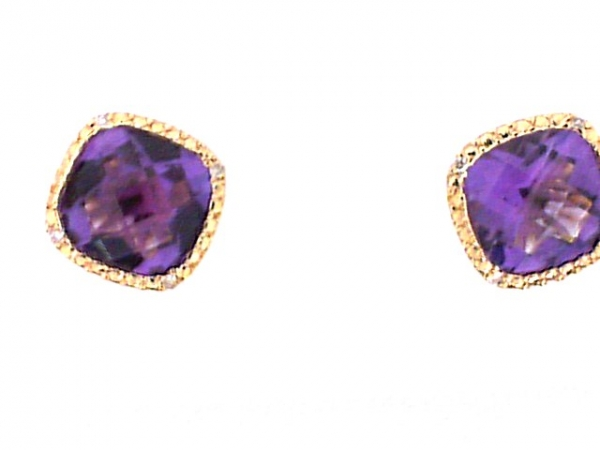 14KY Amethyst Square earrings by Color Merchants