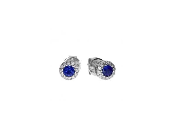 14KW Diamond & Sapphire stud earrings by Color Merchants