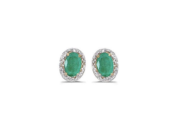 14KW Oval 6X4mm Emerald & Diamond .02ct Earrings by Color Merchants