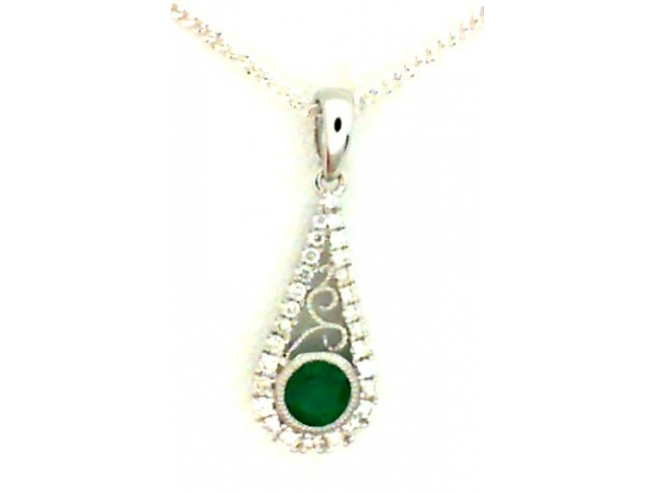 14KW .012ct Diamond & .30ct Emerald Pendant by Color Merchants