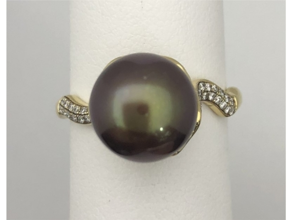 14KY Chocolate Pearl & Diamond Ring by Imperial