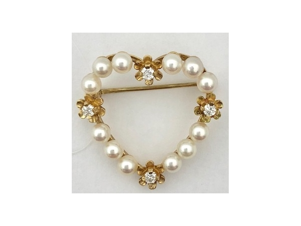 14KY Pearl & Diamond Pin by Imperial