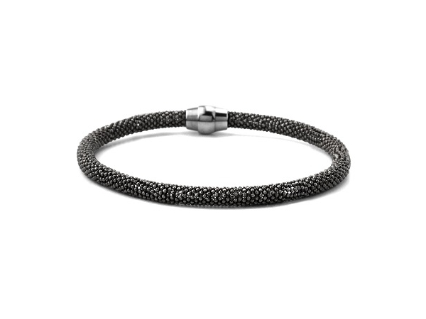 Sterling Silver Beaded Black Bangle by Aurabella