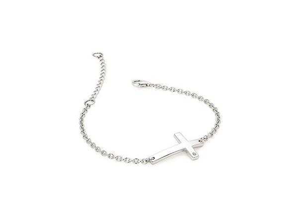 Sterling Silver Sideways Cross Bracelet w/ .01ct Diamond by Ostbye