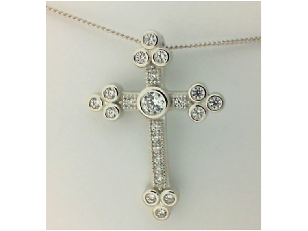 Sterling Silver 18KW Plated CZ Cross Necklace by Dizeo