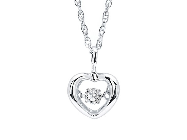 Sterling Silver Dancing Diamond Heart Necklace by Ostbye
