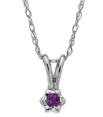 Sterling Silver Amethyst Flower Necklace by Kiddie Kraft